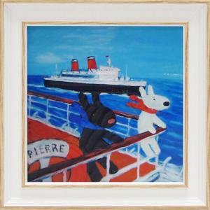 絵画 インテリア アートポスター 壁掛け (額縁 アートフレーム付き) リサとガスパール アート Sサイズ「クルージング」|touo