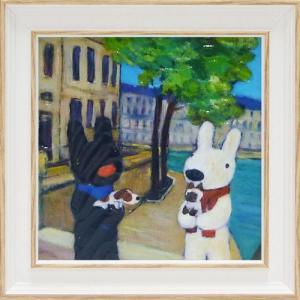 絵画 インテリア アートポスター 壁掛け (額縁 アートフレーム付き) リサとガスパール アート Sサイズ「いぬとねこ」|touo