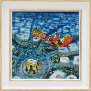 絵画 インテリア アートポスター 壁掛け (額縁 アートフレーム付き) リサとガスパール アート Sサイズ「メリークリスマス!」|touo
