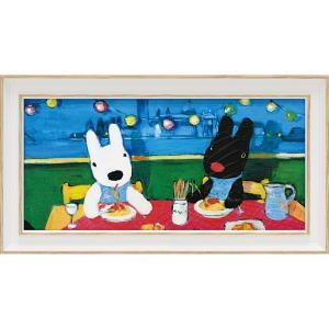 絵画 インテリア アートポスター リサとガスパール アートフレーム「だいすきなスパゲッティ(ワイドSサイズ)」|touo