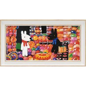 絵画 インテリア アートポスター リサとガスパール アートフレーム「キャンディーハウス(ワイドSサイズ)」|touo