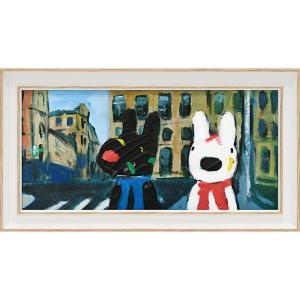 絵画 インテリア アートポスター リサとガスパール アートフレーム「いろとりどりのばんそうこう(ワイドSサイズ)」|touo
