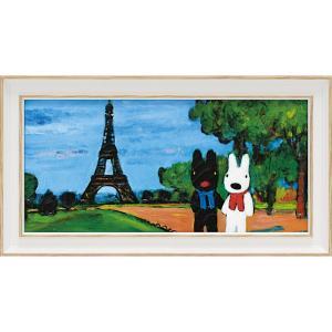 絵画 インテリア アートポスター リサとガスパール アートフレーム「エッフェル塔(ワイドSサイズ)」|touo