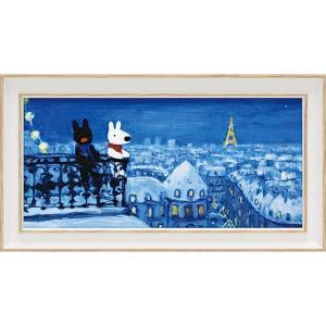 絵画 インテリア アートポスター リサとガスパール アートフレーム「パリの天窓から(ワイドSサイズ)」|touo