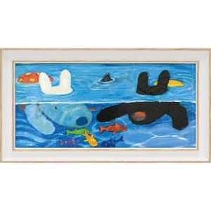 絵画 インテリア アートポスター リサとガスパール アートフレーム「プールあそび(ワイドSサイズ)」|touo