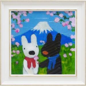 絵画 インテリア アートポスター 壁掛け (額縁 アートフレーム付き) リサとガスパール アート Mサイズ「にほんへいく」|touo