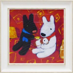 絵画 インテリア アートポスター 壁掛け (額縁 アートフレーム付き) リサとガスパール アート Mサイズ「ちいさなともだち」|touo