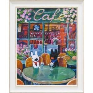 絵画 インテリア アートポスター 壁掛け (額縁 アートフレーム付き) リサとガスパール アート Lサイズ「春のカフェ」|touo