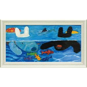 絵画 インテリア アートポスター リサとガスパール ミュージアムフレーム「プールあそび(Lワイド)」|touo