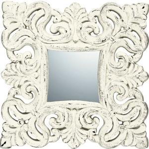 インテリア 鏡 壁掛け グレース アート ミラー「ノーブル・M(アンティークホワイト)」|touo