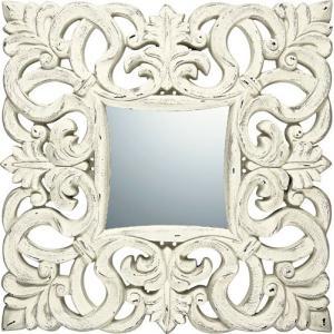 インテリア 鏡 壁掛け グレース アート ミラー「ノーブル・L(アンティークホワイト)」|touo
