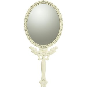 インテリア 鏡 ガーリーロザ ハンドミラー「Sサイズ(アイボリー)」|touo