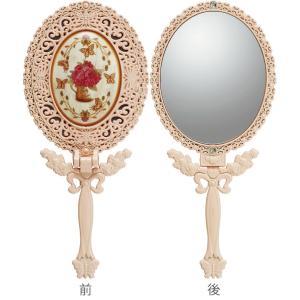インテリア 鏡 ガーリーロザ ハンドミラー「Sサイズ(ライトピンク)」|touo