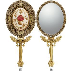 インテリア 鏡 ガーリーロザ ハンドミラー「Sサイズ(アンティークゴールド)」|touo