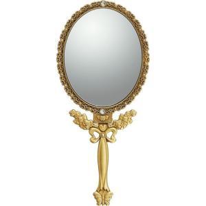 インテリア 鏡 ガーリーロザ ハンドミラー「Mサイズ(アンティークゴールド)」|touo