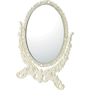 インテリア 鏡 ガーリーロザ オーバルスタンドミラー「Sサイズ(アイボリー)」|touo