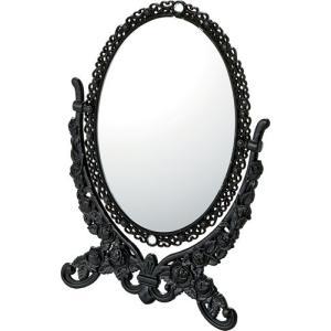 インテリア 鏡 ガーリーロザ オーバルスタンドミラー「Sサイズ(ブラック)」|touo