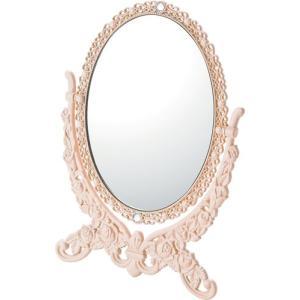 インテリア 鏡 ガーリーロザ オーバルスタンドミラー「Sサイズ(ライトピンク)」|touo