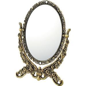 インテリア 鏡 ガーリーロザ オーバルスタンドミラー「Sサイズ(アンティークゴールド)」|touo