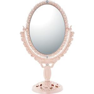 インテリア 鏡 ガーリーロザ オーバルロングスタンドミラー「ライトピンク」|touo