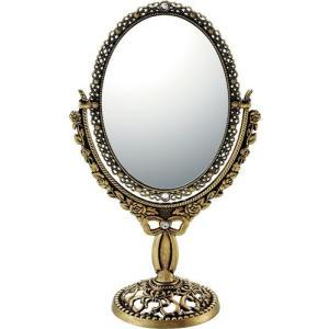 インテリア 鏡 ガーリーロザ オーバルロングスタンドミラー「アンティークゴールド」|touo