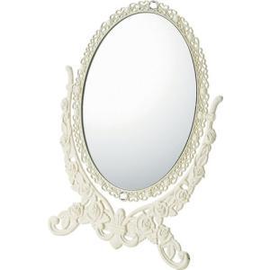 インテリア 鏡 ガーリーロザ オーバルスタンドミラー「Lサイズ(アイボリー)」|touo