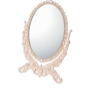 インテリア 鏡 ガーリーロザ オーバルスタンドミラー「Lサイズ(ライトピンク)」|touo