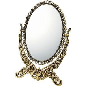 インテリア 鏡 ガーリーロザ オーバルスタンドミラー「Lサイズ(アンティークゴールド)」|touo