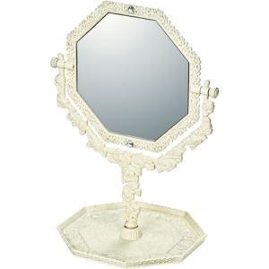インテリア 鏡 ガーリーロザ 8 アングル トレー & ミラー「アイボリー」|touo