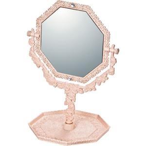 インテリア 鏡 ガーリーロザ 8 アングル トレー & ミラー「ライトピンク」|touo
