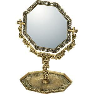 インテリア 鏡 ガーリーロザ 8 アングル トレー & ミラー「アンティークゴールド」|touo