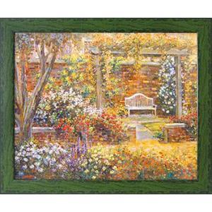 絵画 インテリア アートポスター 壁掛け (額縁 アートフレーム付き) ロンゴ作 「パティオ ガーデン2」|touo