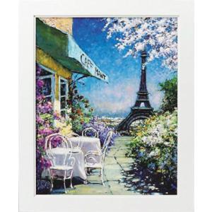 絵画 インテリア アートポスター 壁掛け (額縁 アートフレーム付き) マルコ マヴロヴィッチ作 「パリのカフェ」|touo