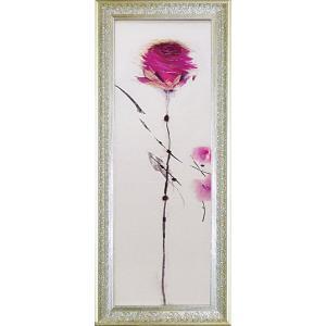 絵画 インテリア アートポスター 壁掛け (額縁 アートフレーム付き) マリリン ロバートソン作 「オリエンタルローズI」|touo