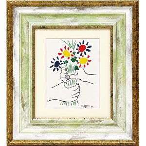 絵画 インテリア アートポスター 壁掛け (額縁 アートフレーム付き)付 ピカソ「ブーケ」|touo