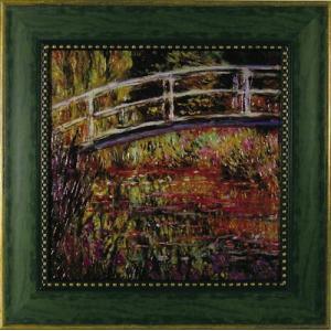 絵画 インテリア アートポスター 壁掛け (額縁 アートフレーム付き) ビッグアート クロード・モネ作 「日本風の橋」|touo