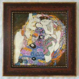 絵画 インテリア アートポスター 壁掛け (額縁 アートフレーム付き) ビッグアート クリムト作 「ザ・バージン」|touo