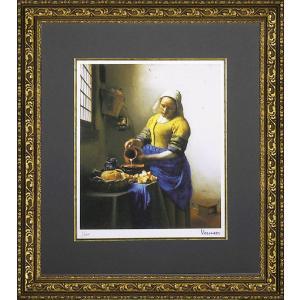 絵画 インテリア アートポスター 壁掛け (額縁 アートフレーム付き) ビッグアート ヨハネス・フェルメール作 「牛乳を注ぐ少女」|touo