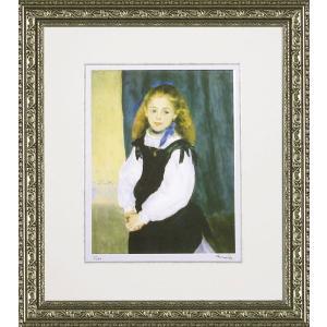 絵画 インテリア アートポスター 壁掛け (額縁 アートフレーム付き) ビッグアート ピエール・オーギュスト・ルノワール作 「ルグラン嬢の肖像」|touo