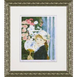 絵画 インテリア アートポスター 壁掛け (額縁 アートフレーム付き) ビッグアート ピエール・オーギュスト・ルノワール作 「団扇を持つ少女」|touo
