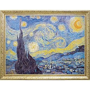 絵画 インテリア アートポスター 壁掛け (額縁 アートフレーム付き) ビッグアート ヴィンセント・ヴァン・ゴッホ作 「Starry Night 1889」|touo