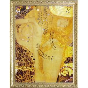 絵画 インテリア アートポスター 壁掛け (額縁 アートフレーム付き) ビッグアート クリムト作 「Sea sarpent」|touo