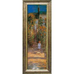 絵画 インテリア アートポスター 壁掛け (額縁 アートフレーム付き) ビッグアート クロード・モネ作 「ヴェトゥイユの画家の庭」|touo