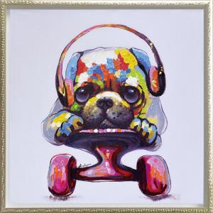 絵画 インテリア 油絵 壁掛け 額縁付 オイル ペイント アート「スケボー ドッグ(Mサイズ)」|touo