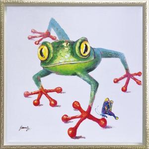 絵画 インテリア 油絵 壁掛け 額縁付 オイル ペイント アート「クロール フロッグ(Mサイズ)」|touo