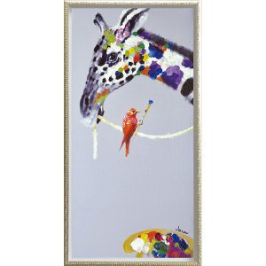 絵画 インテリア 油絵 壁掛け 額縁付 オイル ペイント アート「ジラフ ペインティング(Mサイズ)」|touo