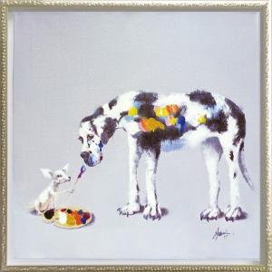 絵画 インテリア 油絵 壁掛け 額縁付 オイル ペイント アート「ドッグ ペインティング(Mサイズ)」|touo