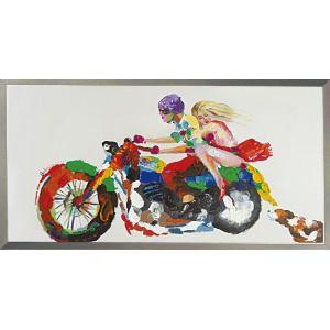 絵画 油絵 肉筆絵画 壁掛け (額縁 アートフレーム付き) オイル ペイント アート「グッド ライバル」|touo
