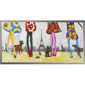絵画 油絵 肉筆絵画 壁掛け (額縁 アートフレーム付き) オイル ペイント アート「パリジェンヌ」|touo