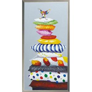 絵画 油絵 肉筆絵画 壁掛け (額縁 アートフレーム付き) オイル ペイント アート「クッション ドッグ」|touo